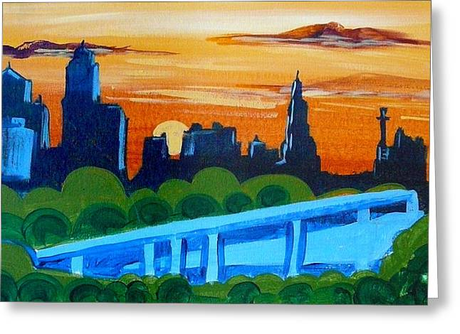 Kc Skyline At Sunset Greeting Card