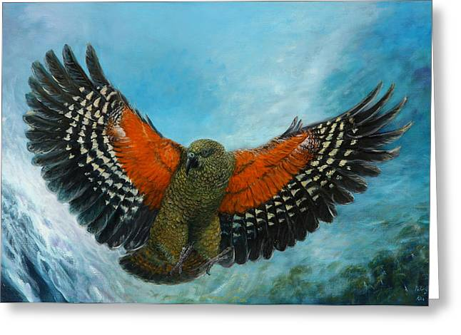 Kea New Zealand Greeting Card by Peter Jean Caley