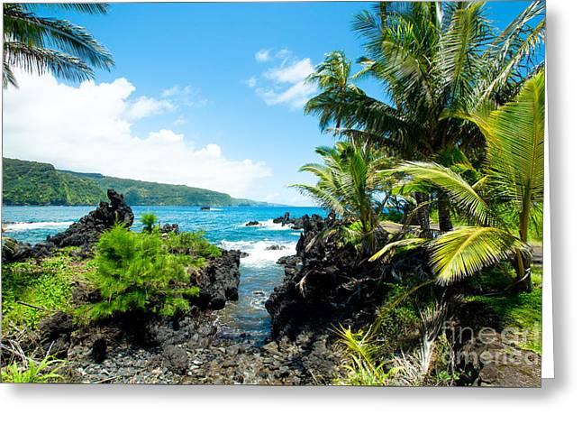 Keanae Framed By Palm Trees Maui Hawaii Greeting Card