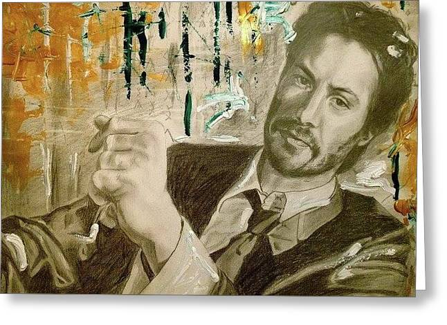 Keanu Reeves Portrait Greeting Card by Agnes V