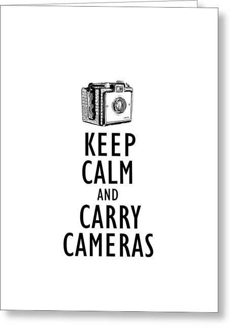 Keep Calm And Carry Cameras Phone Case Greeting Card by Edward Fielding