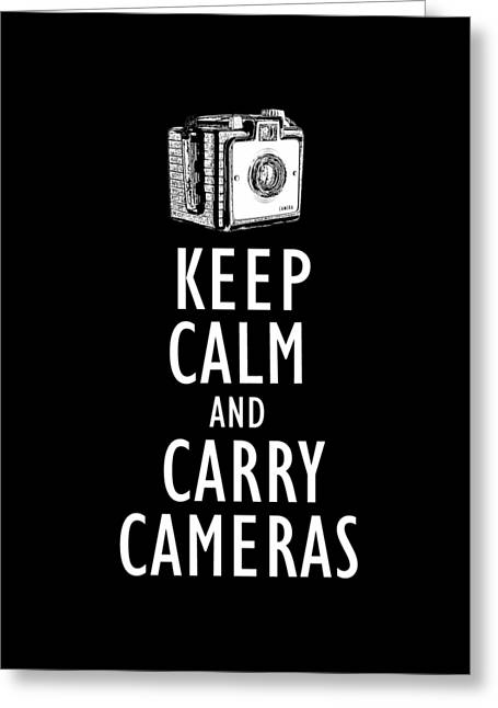 Keep Calm And Carry Cameras Tee Greeting Card