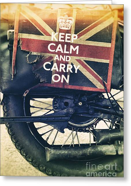 Keep Calm And Carry On Greeting Card by Tim Gainey