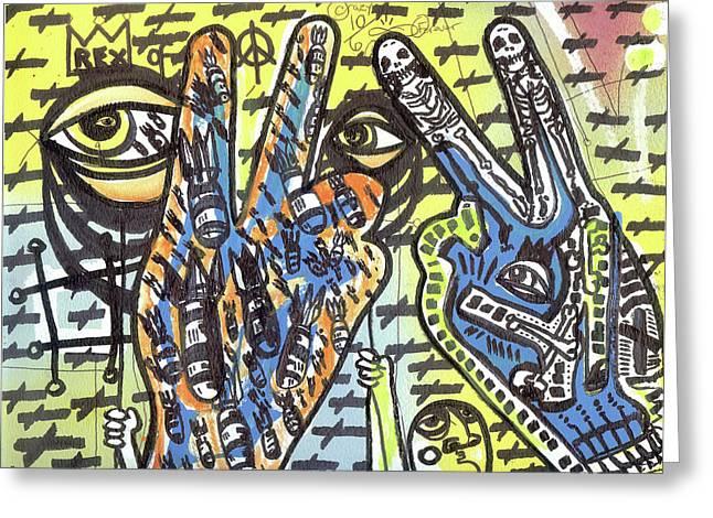 Keep Pushing 4 Peace Greeting Card by Robert Wolverton Jr