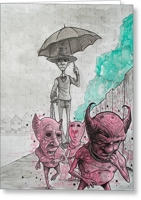Keep Your Demons Leashed Greeting Card by Chase Fleischman