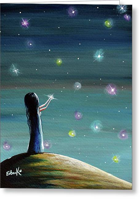 Keeping Her Dreams Alive Fantasy Painting Greeting Card