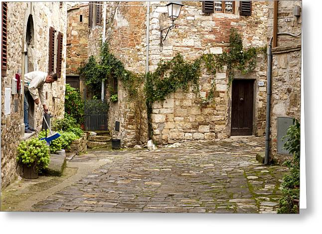 Keeping Montefioralle Clean Greeting Card