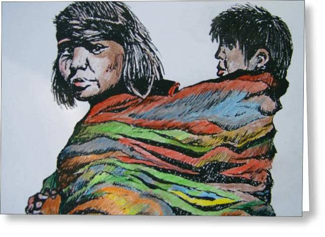 Keeping Warm Greeting Card by Leslie Manley