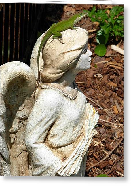 Greeting Card featuring the photograph Keeping Watch With An Angel by Jeanne Kay Juhos