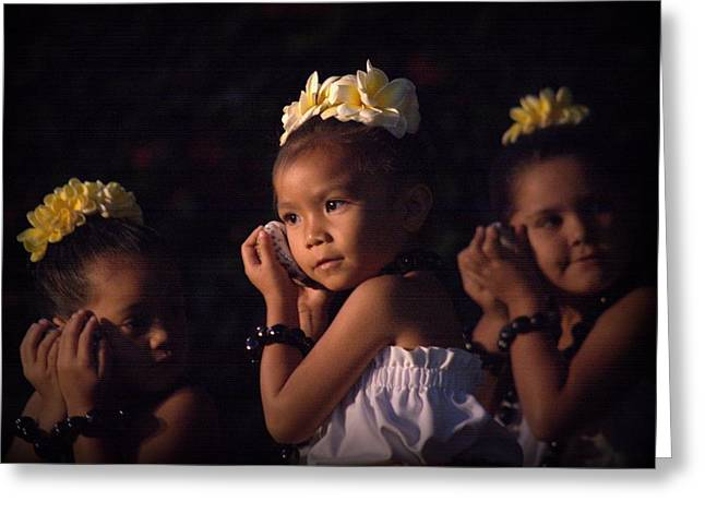 Greeting Card featuring the photograph Keiki Conch Shell Hula by Lori Seaman