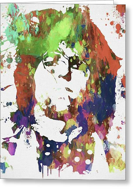 Keith Richards Paint Splatter Greeting Card by Dan Sproul
