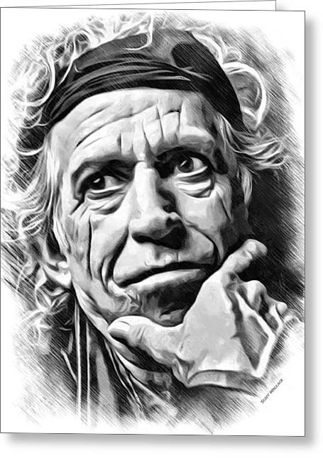 Keith Richards Sketch Greeting Card by Scott Wallace