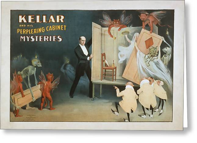 Kellar And His Perplexing Cabinet Greeting Card
