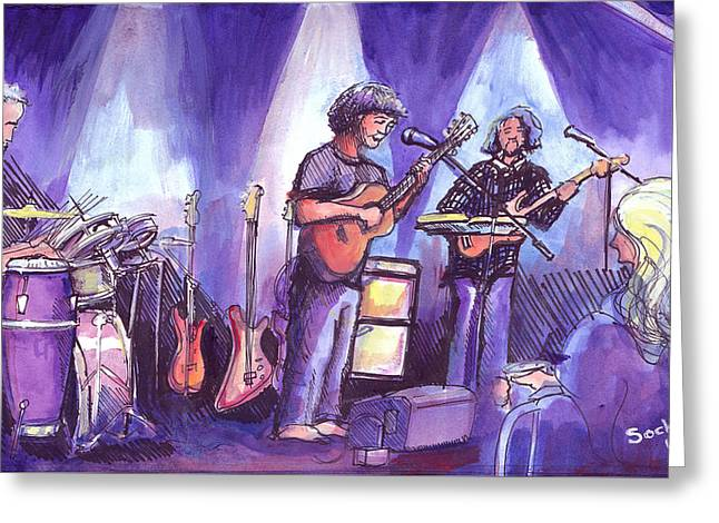 Greeting Card featuring the painting Keller And His Compadres by David Sockrider