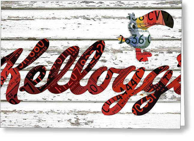 Kelloggs Fruit Loops Cereal Michigan Vintage License Plate Art Greeting Card