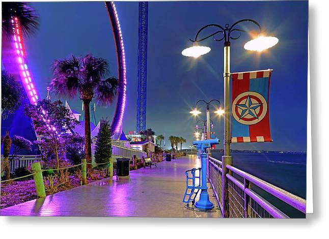 Greeting Card featuring the photograph Kemah Boardwalk - Amusement Park - Texas by Jason Politte