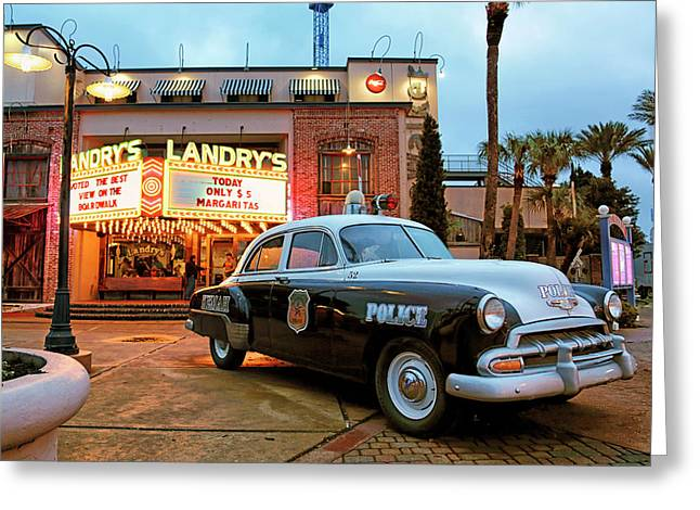 Greeting Card featuring the photograph Kemah Police Car At The Kemah Boardwalk - Texas by Jason Politte