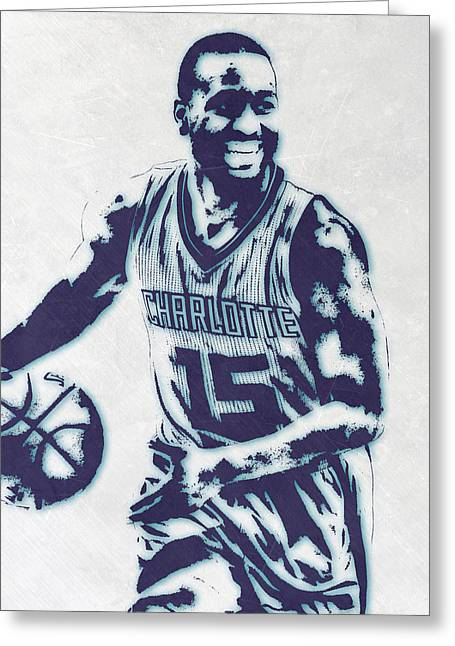 Kemba Walker Charlotte Hornets Pixel Art 2 Greeting Card by Joe Hamilton