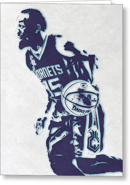 Kemba Walker Charlotte Hornets Pixel Art 3 Greeting Card by Joe Hamilton