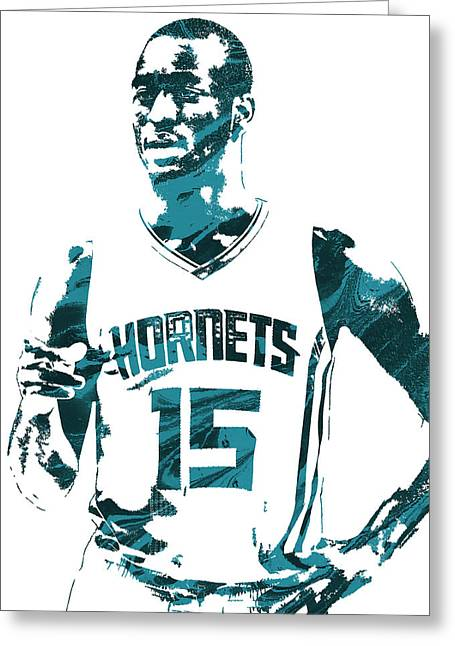 Kemba Walker Charlotte Hornets Pixel Art 4 Greeting Card by Joe Hamilton