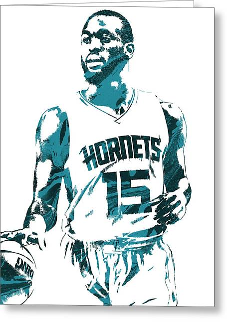 Kemba Walker Charlotte Hornets Pixel Art 5 Greeting Card by Joe Hamilton