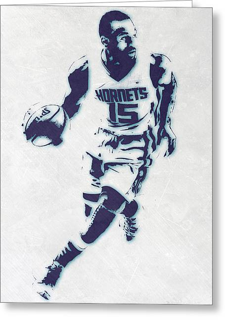 Kemba Walker Charlotte Hornets Pixel Art Greeting Card by Joe Hamilton