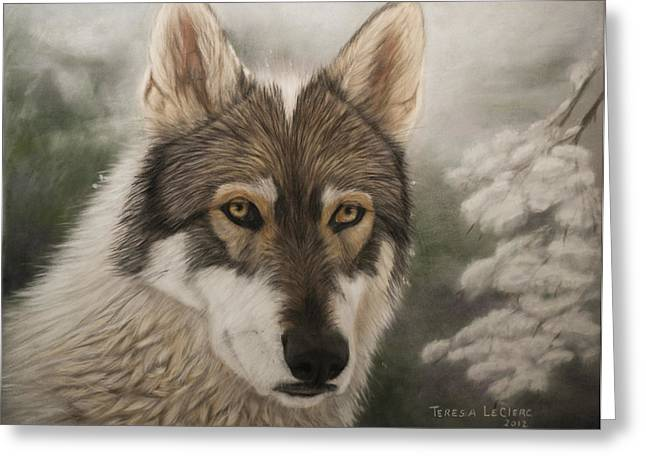 Wolf Pastels Greeting Cards - Keme Greeting Card by Teresa LeClerc