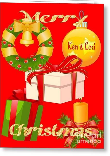 Ken And Lori Xmas Greeting  Greeting Card by Gayle Price Thomas