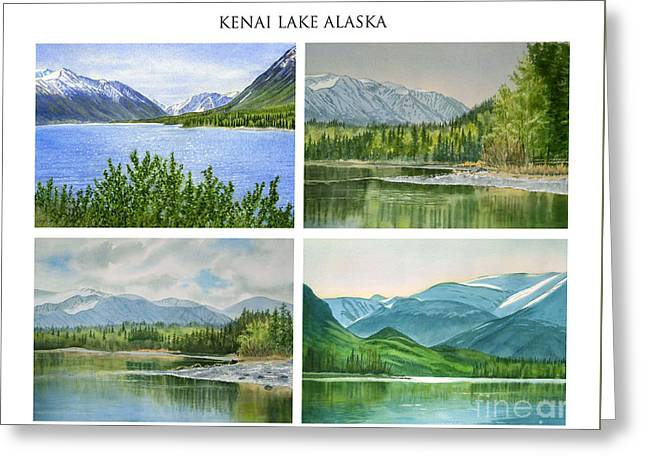 Kenai Lake Alaska Poster With Title Greeting Card by Sharon Freeman