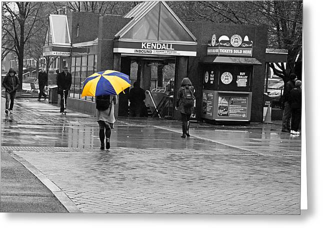 Kendall Square Rainy Day Cambridge Ma Blue And Yellow Greeting Card