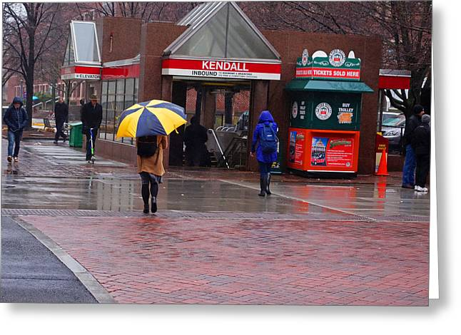 Kendall Square Rainy Day Cambridge Ma Greeting Card