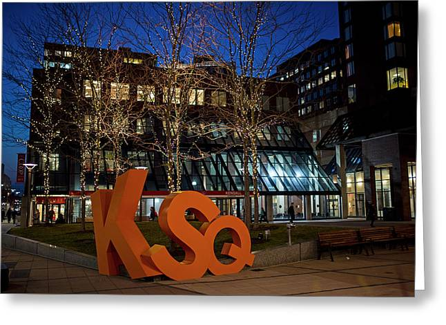 Kendall Square Sign Cambridge Ma Night Greeting Card