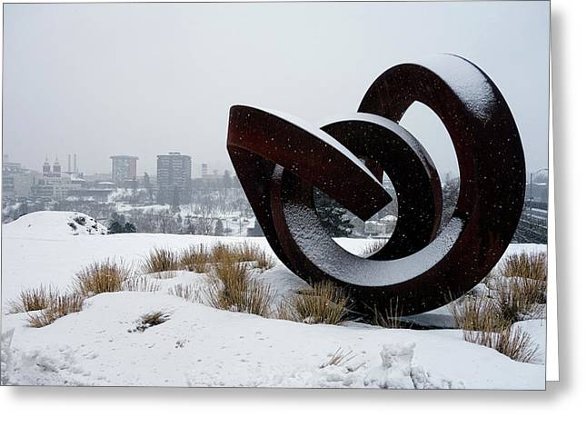 Kendall Yards - Centennial Trail - Winter Storm - Spokane Greeting Card by Daniel Hagerman