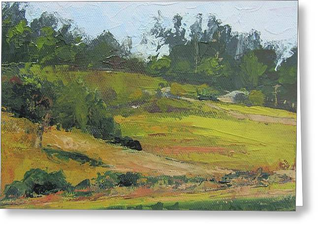 Greeting Card featuring the painting Kenilworth Hills Queensland Australia by Chris Hobel