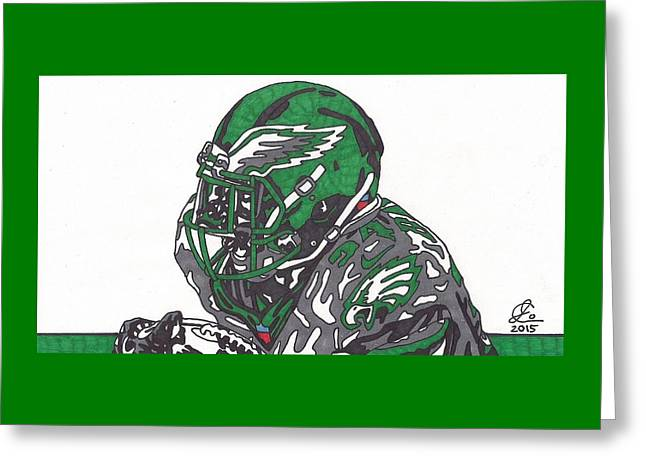 Kenjon Barner Eagles  Greeting Card by Jeremiah Colley