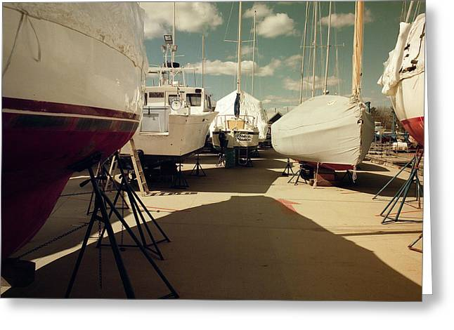 Greeting Card featuring the photograph Kennebunk...springtime In The Boatyard by Samuel M Purvis III