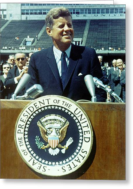 Greeting Card featuring the photograph Kennedy At Rice University by Artistic Panda