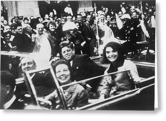 Kennedy Dallas Motorcade Greeting Card by Victor Hugo King