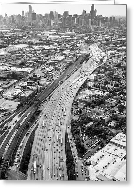 Greeting Card featuring the photograph Kennedy Expressway And Chicago Skyline by Adam Romanowicz