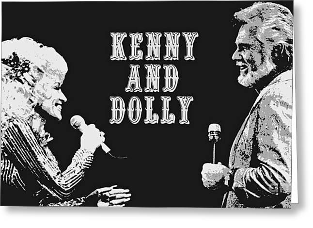 Kenny Rogers And Dolly Parton Greeting Card by Pd