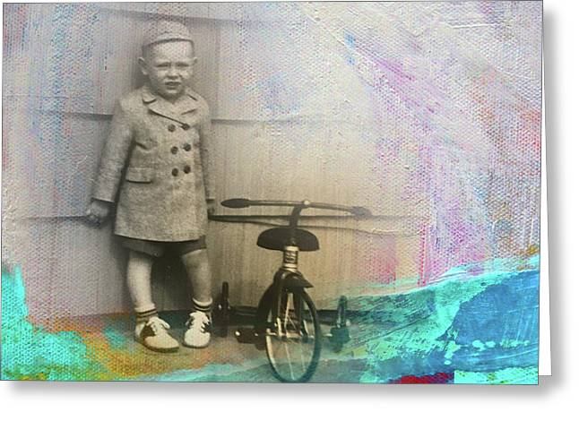 Greeting Card featuring the mixed media Kent Tricycle by Nancy Merkle