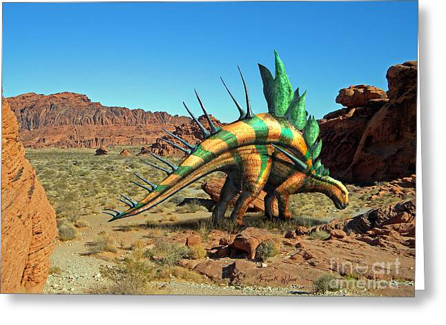 Kentrosaurus In The Desert Greeting Card by Frank Wilson
