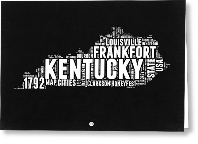 Kentucky Black And White Word Cloud Map Greeting Card by Naxart Studio
