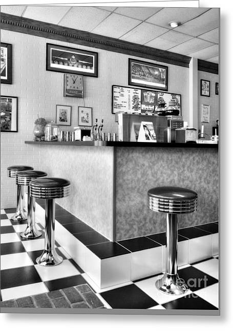 Kentucky Blue Diner Bw Greeting Card