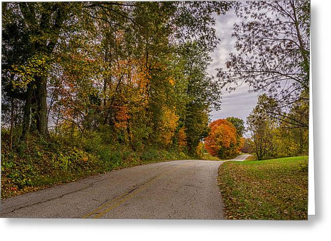 Kentucky County Lane In Fall Greeting Card by Wendell Thompson