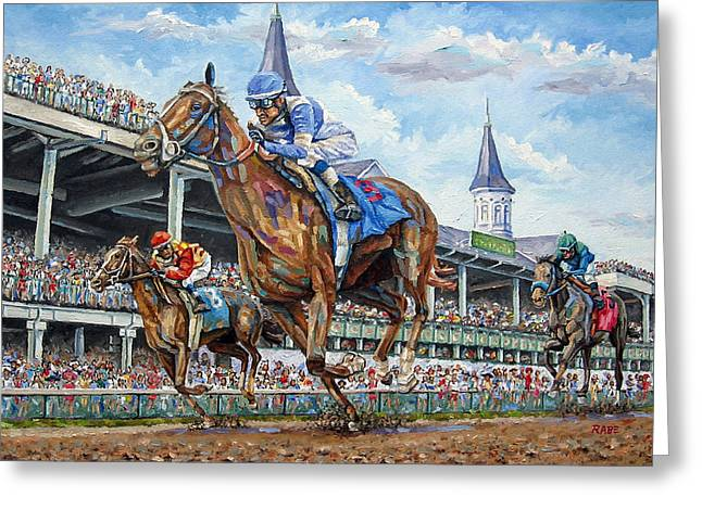 Kentucky Derby - Horse Racing Art Greeting Card