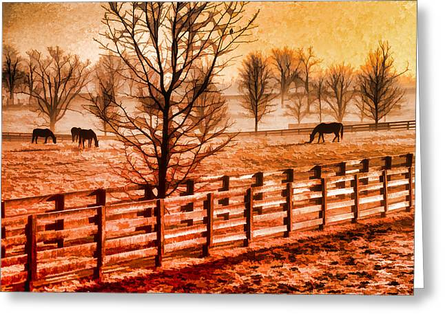 Kentucky Horse Farm  Greeting Card by Dennis Cox WorldViews