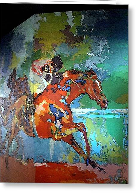 Kentucky Horse Park - Mural Of Horse Race  Greeting Card by Thia Stover