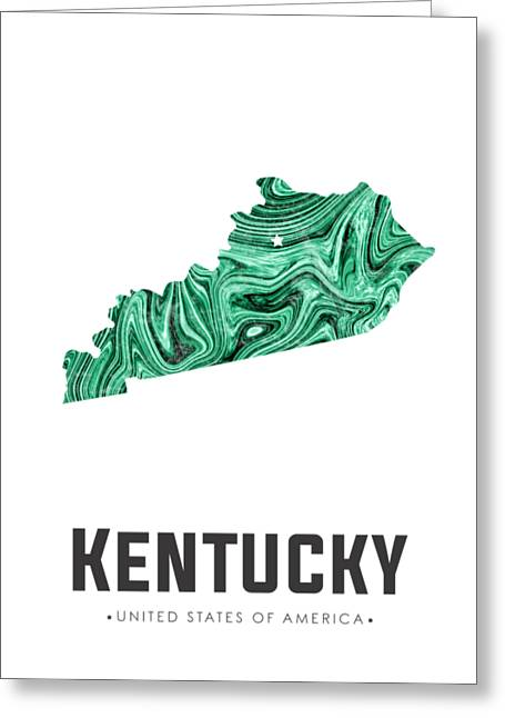 Kentucky Map Art Abstract In Green Greeting Card