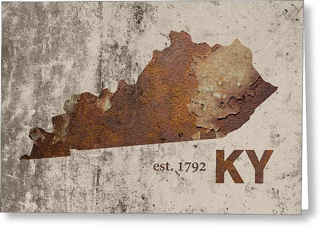 Kentucky State Map Industrial Rusted Metal On Cement Wall With Founding Date Series 002 Greeting Card